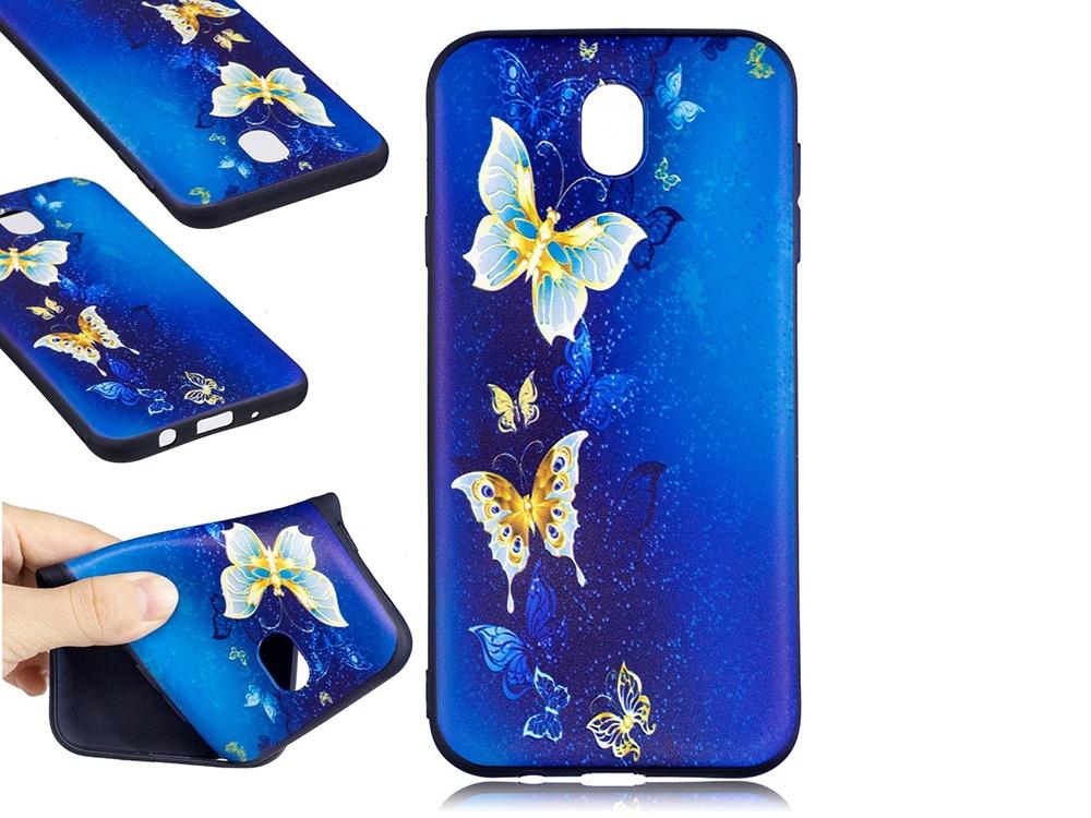 Силиконов гръб Color за Samsung Galaxy J7 2017  J730 -Blue and Gold Butterflies