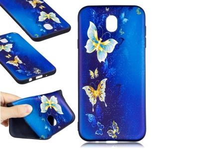 Силиконов гръб за  Samsung Galaxy J7 2017  J730 -Blue and Gold Butterflies