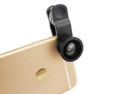 Универсален обектив за мобилен телефон 3 в 1 Комплект за обектив  с 180градуса обектив + Широкоъгълен обектив 0.67X + Обектив за макро , Черен