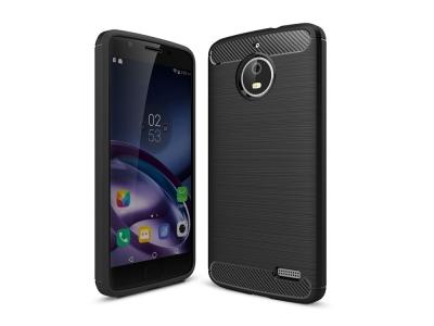 Силиконов Калъф Carbon Fibre Brushed за Moto E4, Черен