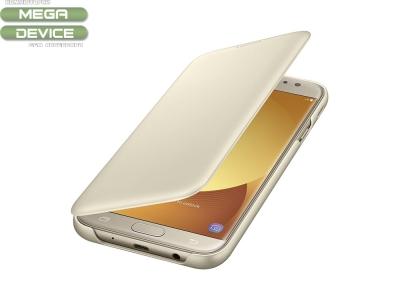Оригинален калъф тефтер за Samsung Galaxy J7 2017 J730 (EF-WJ730CF), Златист