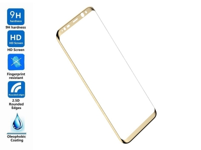 Стъклен 3D протектор BASEUS Curved за Samsung Galaxy S8 Plus 2017(G955F) , Златист