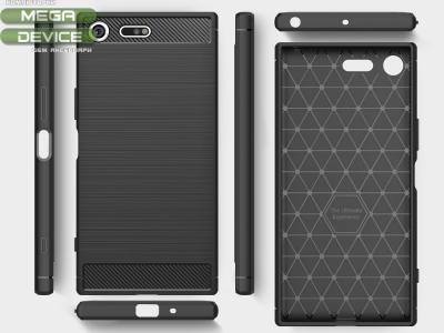 Силиконов Калъф Carbon Fibre Brushed за Sony Xperia XZ Premium, Черен