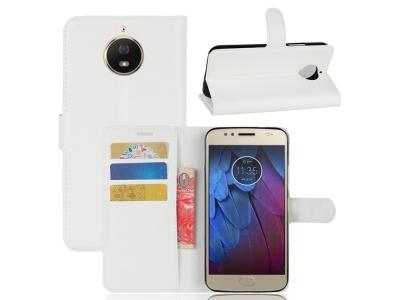 Калъф Тефтер Litchi Skin за Motorola Moto G5S, Бял