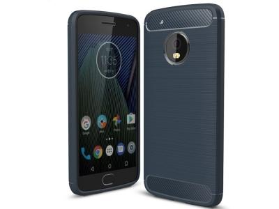 Силиконов Калъф Carbon за Moto G5 Plus, Тъмно Син