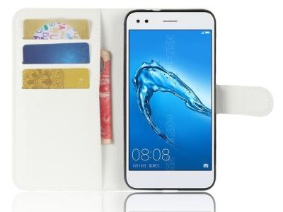 Калъф тефтер Litchi Texture за Huawei P9 lite mini / Y6 Pro (2017) / Enjoy 7, Бял