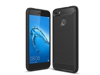 Силиконов Калъф Carbon Fibre Brushed за Huawei P9 lite mini / Enjoy 7 / Y6 Pro (2017), Черен