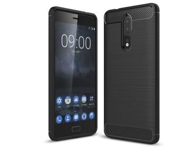Силиконов Калъф Carbon Fibre Brushed за Nokia 8, Черен