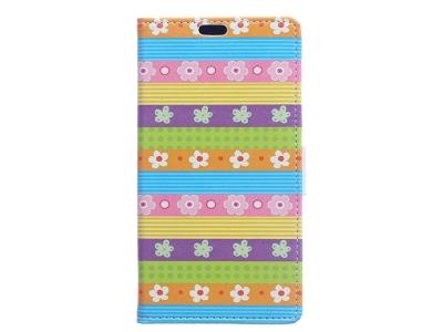 Калъф Тефтер Хоризонтал за Huawei P9 lite mini / Enjoy 7 / Y6 Pro (2017) - Colorful Stripes Flowers