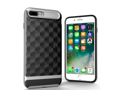 Силиконов хибриден гръб с пластмасова лайсна за  iPhone 7 Plus / 8 Plus, Сребрист