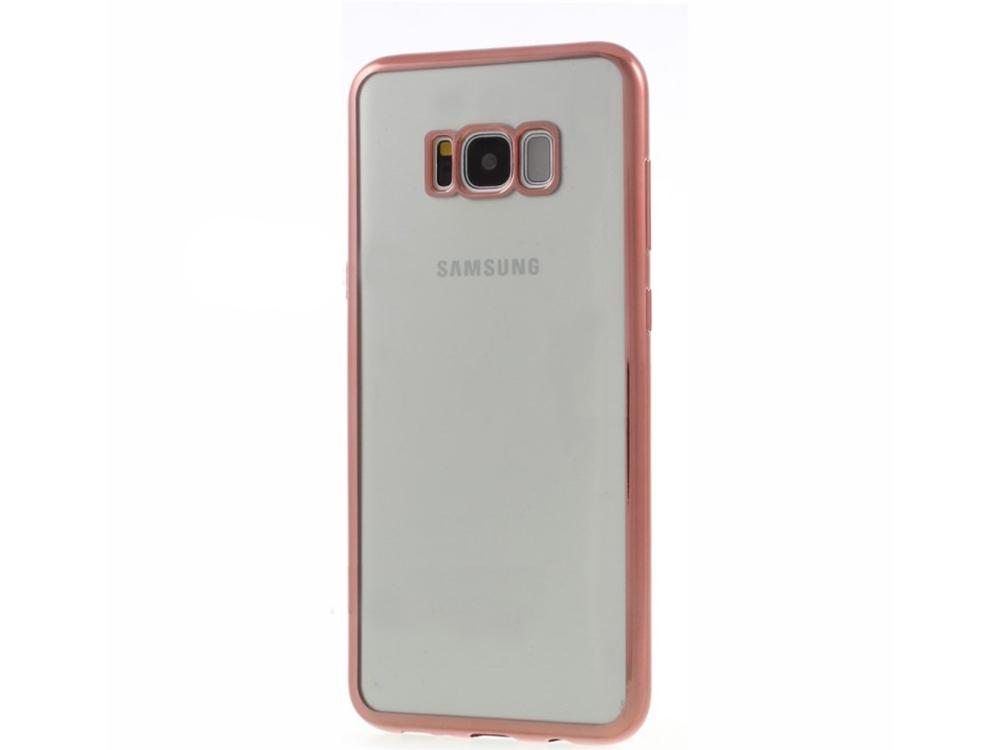 Силиконов калъф с лайсна Clear за Samsung Galaxy S8 2017 (G950), Розов/ Златист