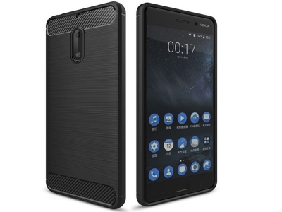 Силиконов противоударен гръб Carbon Fibre Brushed за Nokia 6, Черен