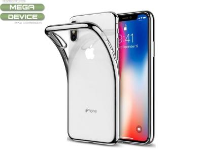 Силиконов калъф  с лайсна  CLEAR за iPhone X, Сребрист