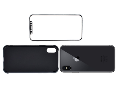 360 градуса Силиконов калъф за Apple iPhone X - Черен