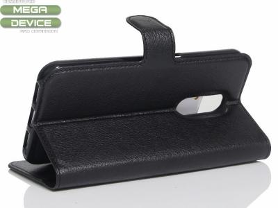 Калъф тефтер Litchi за Motorola Moto M XT1663 , Черн