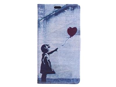 Калъф Тефтер Bооk Huawei P9 lite mini / Enjoy 7 / Y6 Pro (2017) - Cute Girl Flying Heart Shaped Balloon