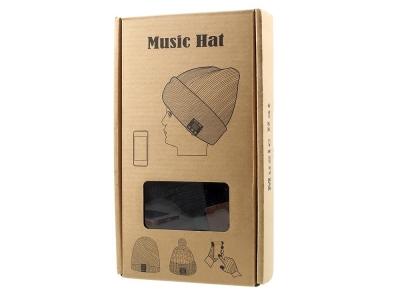 Зимна плетена шапка с вградена безжична Bluetooth слушалка и микрофон - Black