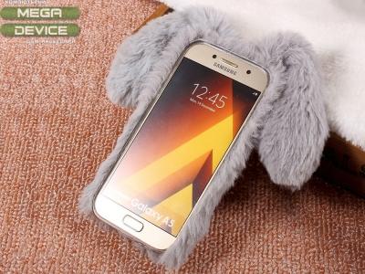 Силиконов гръб  Пухкаво зайче за Samsung Galaxy A3 (2017), Сив