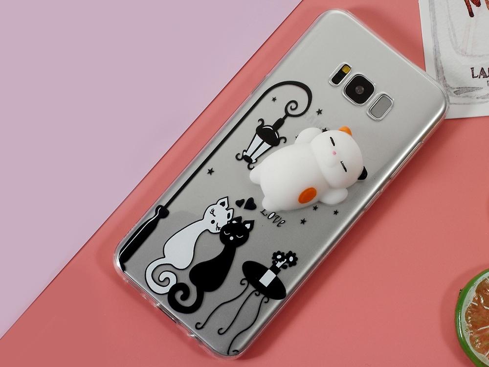 Силиконов гръб 3D Squishy  черно бяла котка за Samsung Galaxy S8 Plus 2017 G955
