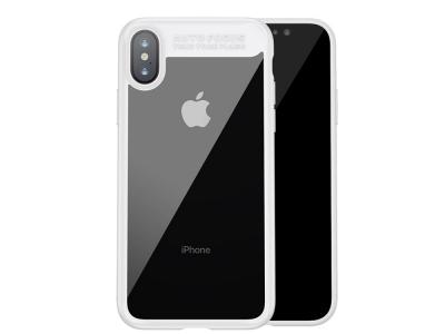 Пластмасов гръб със силиконова лайсна  BASEUS за iPhone X, Бял