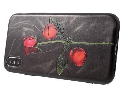 Силиконов Калъф релеф за iPhone X  Black Background and Rose