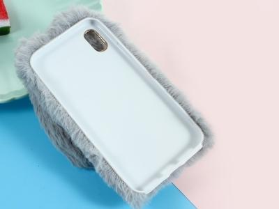 Силиконов гръб  Пухкаво зайче за iPhone X ,Светло сив