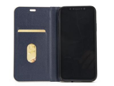 Калъф Тефтер Magnetic Leather iPhone X / 10, Тъмно син