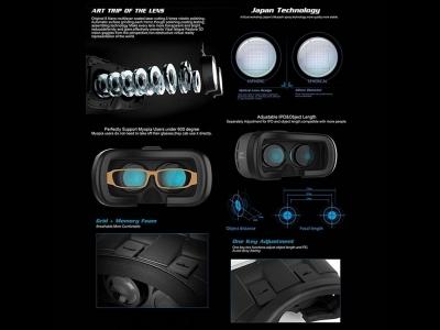 3D очила за виртуална реалност + Bluetooth дистанционно управление, Черен