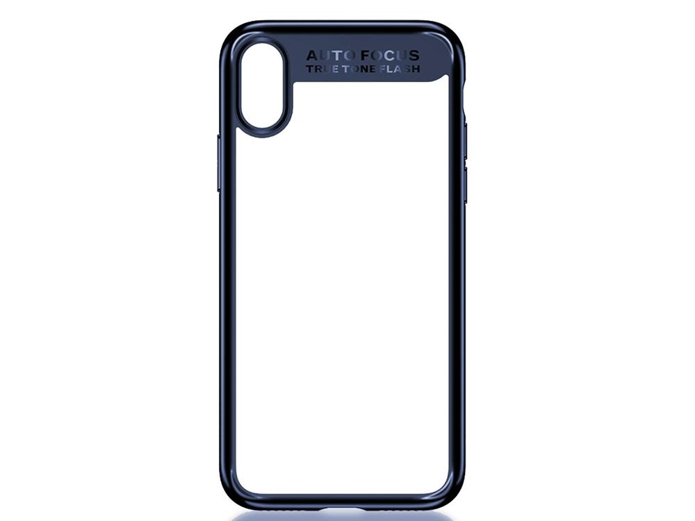 Пластмасов гръб със силиконова лайсна USAMS за iPhone X , Тъмно син