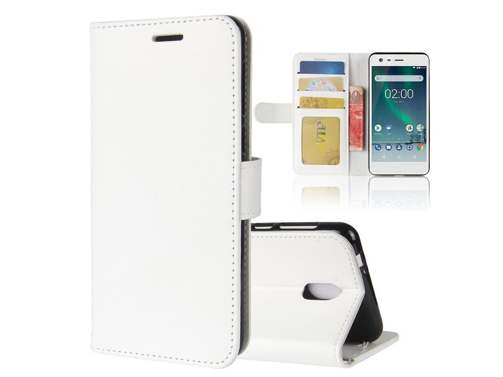 Калъф тефтер Crazy Horse за Nokia 2 , Бял