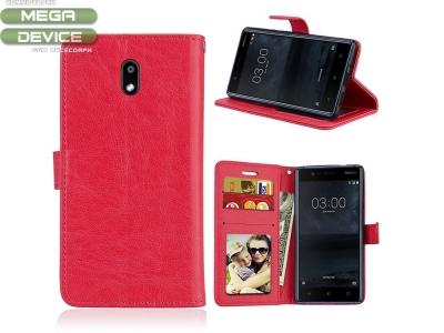 Калъф тефтер Crazy Horse за Nokia 3 , Червен