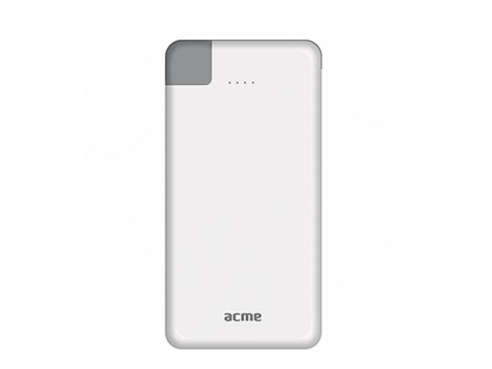 Външна батерия ACME PB08 SLIM 4000 mAh, Бяла