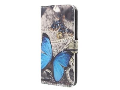 Калъф Тефтер Leather Stand Wallet за Huawei P9 lite mini / Enjoy 7 / Y6 Pro (2017) , Синя пеперуда