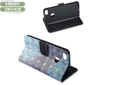Калъф Тефтер 3D Vivid Pattern Wallet за Huawei P9 lite mini / Y6 Pro (2017) / Enjoy 7 , Сини Цветя