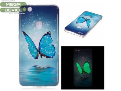 Силиконов Гръб Фосфорицентен за Huawei P10 Lite , Синя пеперуда