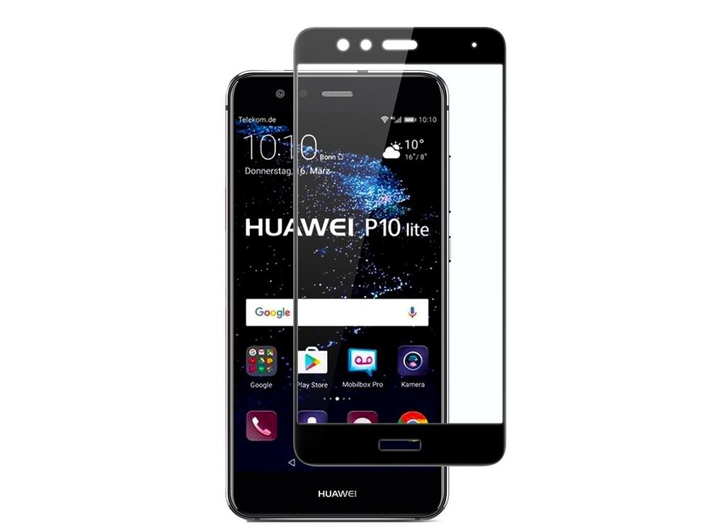 Стъклен протектор Full Glue за Huawei P10 Lite, Черен