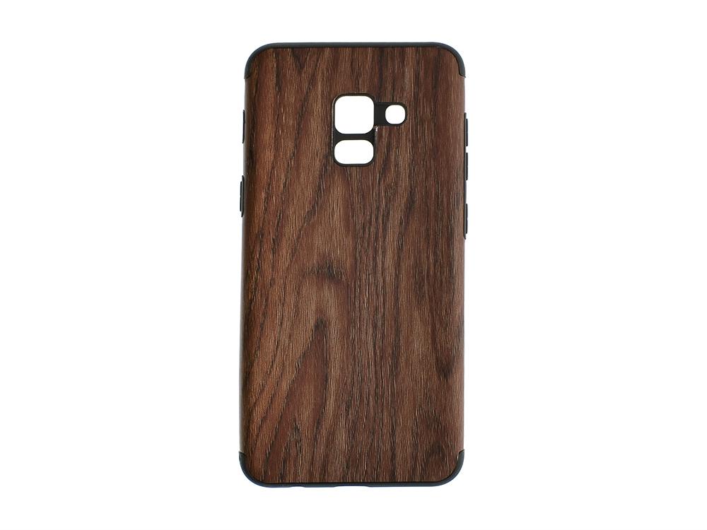 Силиконов Гръб WOOD за Samsung Galaxy A8 2018 (A530F)/ A5 2018 , Тъмно дърво