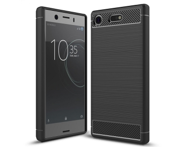 Силиконов гръб Carbon за Sony Xperia XZ1 Compact, Черен