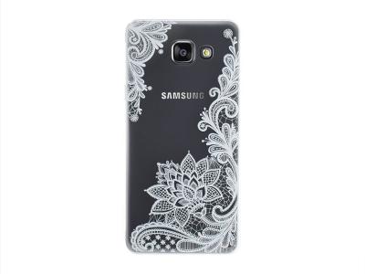 Пластмасов гръб със силиконова лайстна за Samsung Galaxy A5 2016 A510, Бели Цветя