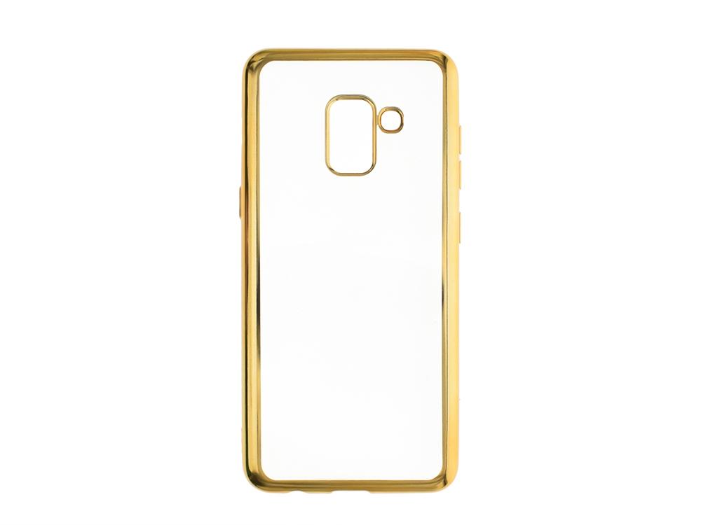 Силиконов гръб с лайсна  CLEAR за Samsung Galaxy A5 2018 / A8 2018 A530, Златист