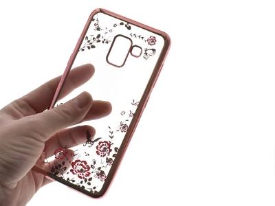 Силиконов гръб с камъни FLOWER за Samsung Galaxy A5 2018 / A8 2018 A530, Розов/ Златист