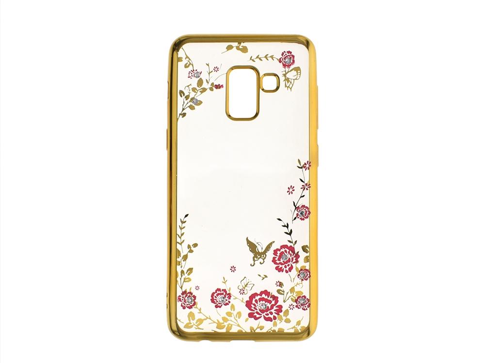 Силиконов гръб с камъни FLOWER за Samsung Galaxy A5 2018 / A8 2018 A530, Златист
