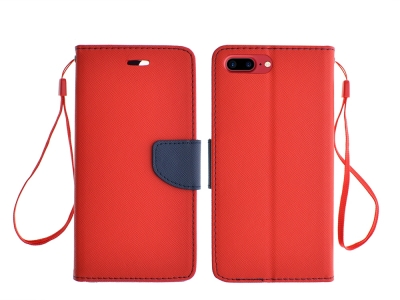 Калъф Тефтер Fancy за iPhone 7 Plus (5.5) , Червен/Син