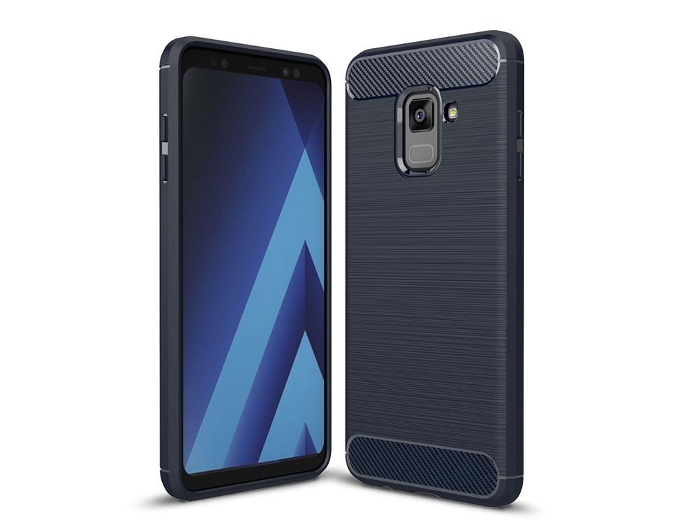 Силиконов гръб Carbon за Samsung Galaxy A5 2018 / A8 2018 A530 , Тъмно син