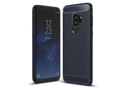 Силиконов гръб Carbon Fibre Brushed за Samsung Galaxy S9 Plus 2018 , Тъмно син