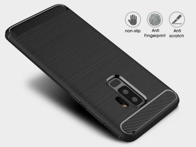 Силиконов гръб Carbon за Samsung Galaxy S9 Plus 2018, Черен