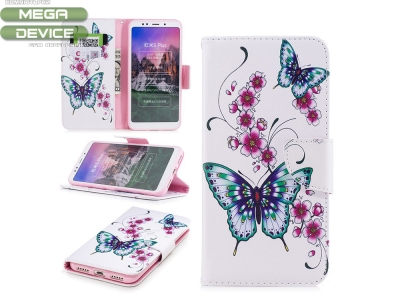 Калъф тефтер за Xiaomi Redmi Note 5 / Redmi 5 Plus, Цветя и Пеперуди