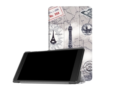 Калъф тефтер за Таблет Leatherза Lenovo Tab 7 Essential (2017) / Tab 4 7,Eiffel Tower and Map