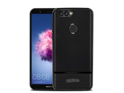 Силиконов Гръб Litchi за Huawei P Smart / Enjoy 7S , Черен