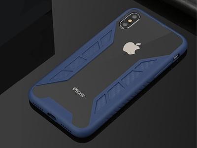 Пластмасов гръб със силиконова лайстна за iPhone X, Син
